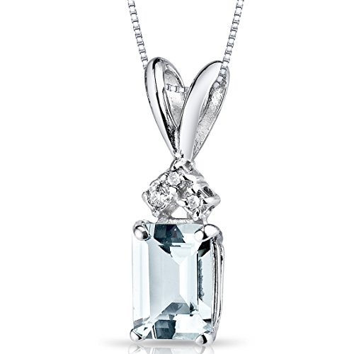 14 Karat White Gold Emerald Cut 1.00 Carats Aquamarine