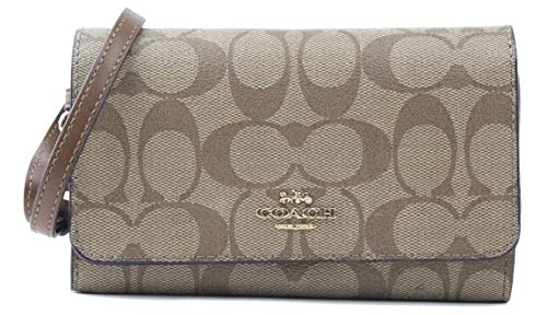 Coach Women's Signature PVC Flap Phone Wallet Wristlet in Khaki Saddle