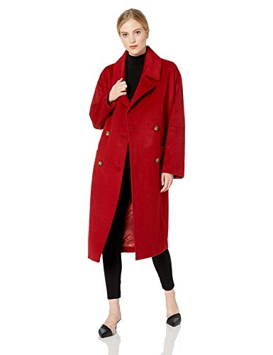 Badgley Mischka Women's Mid Length Double Breasted Wool Coat