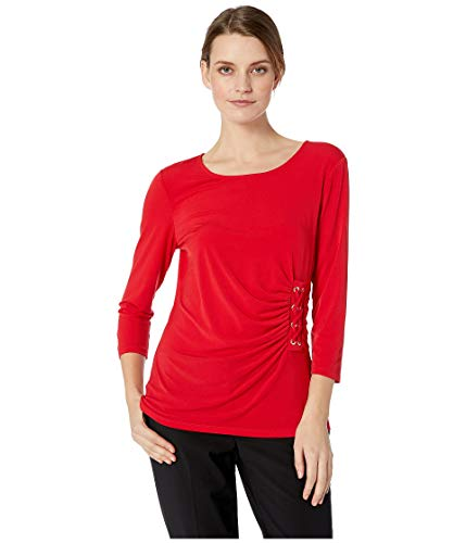 Calvin Klein Women's 3/4 Sleeve Knit with Lacing Rouge