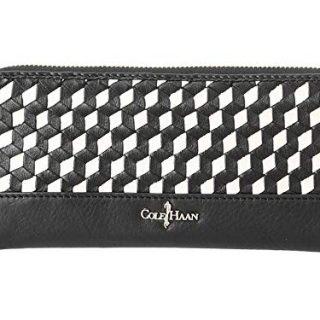 Cole Haan Parker Weave Wallet Continental Black White
