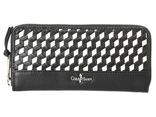 Cole Haan Parker Weave Wallet Continental Black White