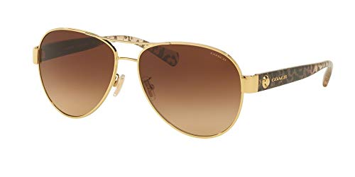 Coach Womens Sunglasses Gold/Brown Metal - Non-Polarized - 58mm