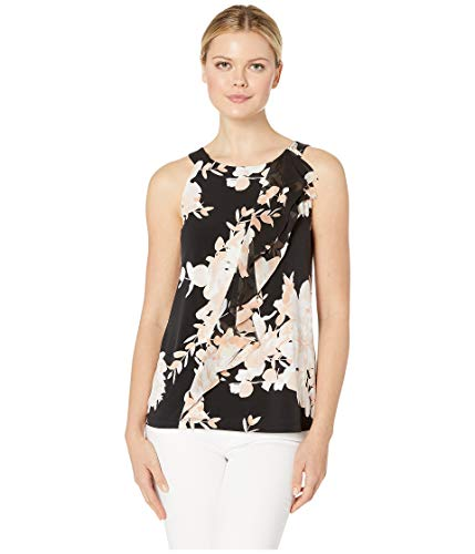 Calvin Klein Women's Printed Halter Top with Ruffle Black