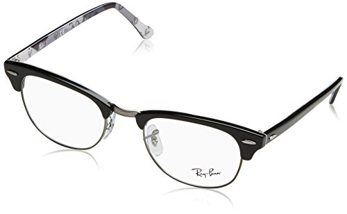 Ray-Ban Clubmaster Square Eyeglass Frames, Black on Texture Grey/Demo Lens