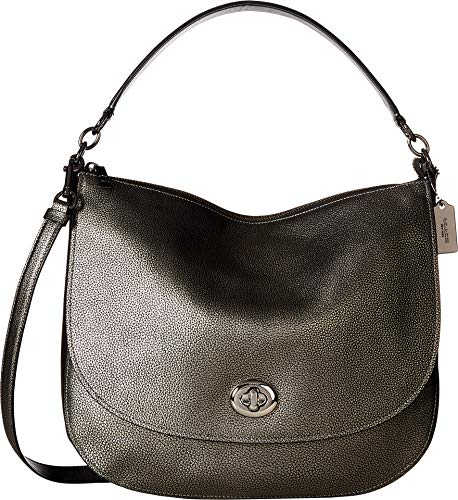 COACH Women's Pebbled Turnlock Hobo Gunmetal One Size