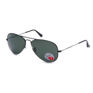 Ray-Ban Aviator Polarized Sunglasses, Black/Polarized Green