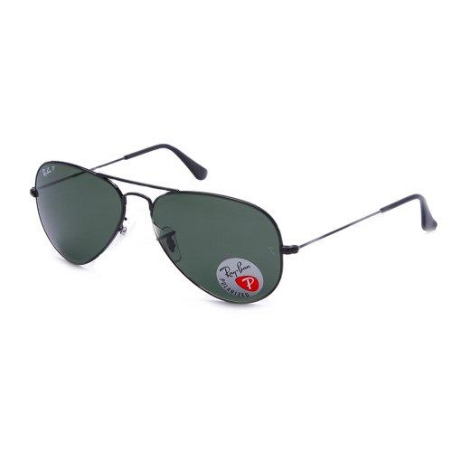 Ray-Ban Aviator Polarized Sunglasses, Black/Polarized Green