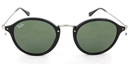 Ray-Ban Round Fleck Sunglasses, Black/Green, 49 mm