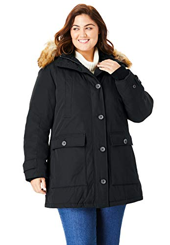 Woman Within Women's Plus Size The Arctic Parka - Black, 3X