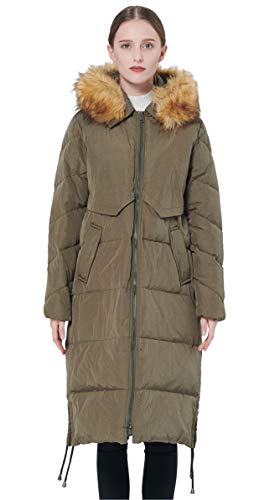 Orolay Women's Winter Drawstring Down Coat Removable Faux Fur ArmyGreen M