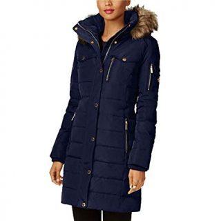 Michael Kors Faux Fur Trim Down Puffer Coat-Navy-XL