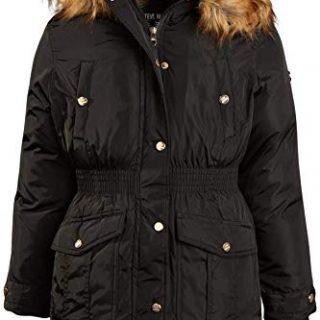 Steve Madden Girls' Anorak Jacket with Fur Hood