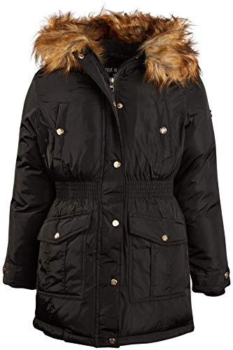 Steve Madden Girls' Anorak Jacket with Fur Hood