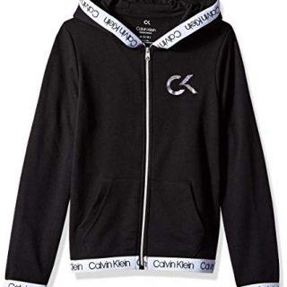 Calvin Klein Big Girls' Performance Hoodie, Black, Medium