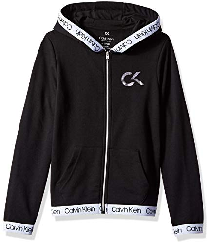 Calvin Klein Big Girls' Performance Hoodie, Black, Medium