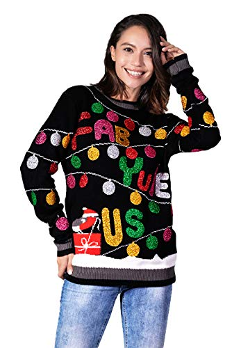 Women's Christmas Sweater Ugly Pullover Funny Santa Glitter Lights