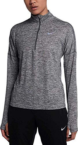 Nike Women's Dry Element Running Top-Carbon Heather-Large