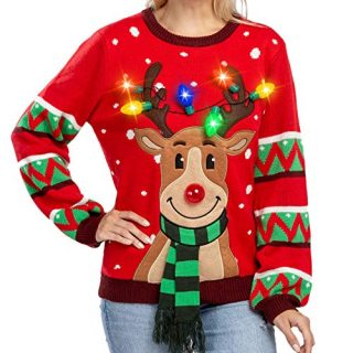 Womens LED Light Up Reindeer Ugly Christmas Sweater