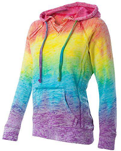 Koloa Surf Co.(tm) Womens Rainbow Stripe V-Neck Burnout Hoodies