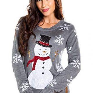 Women's Sequin Snowman Christmas Sweater
