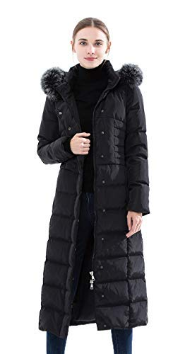Obosoyo Women's Hooded Thickened Long Down Jacket Maxi Down, Black, Size Large