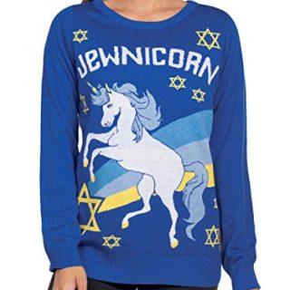 Women's Funny Unicorn Hanukkah Sweater - Jewnicorn Jewish Holiday Sweater