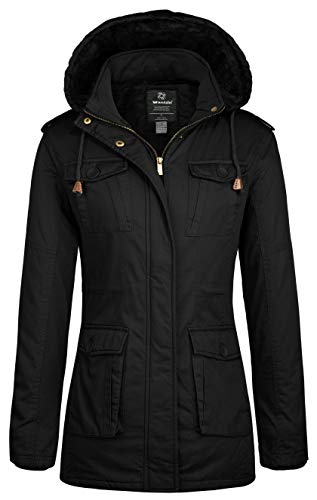 Wantdo Women's Vintage Warm Winter Overcoat with Removable Hood (Black,M)