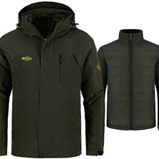 Wantdo Men's 3-in-1 Jacket Soft Shell Snowboarding Coat Raincoat