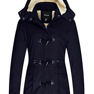 Wantdo Women's Warm Coat Hoodie Parka Fleece Lined Jacket Navy