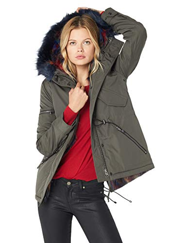 S13 Women's Multi Mini Canyon Faux Fur Lined Hooded Parka, Military Navy, Large