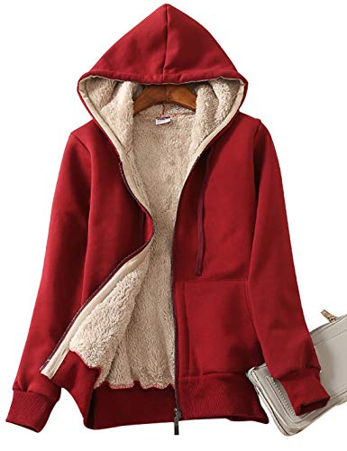 Yeokou Women's Casual Full Zip Up Sherpa Lined Hoodie Sweatshirt Jacket Coat