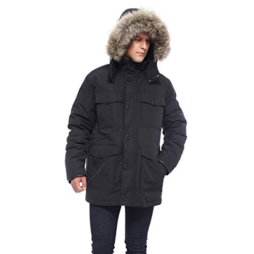 Rokka&Rolla Men's Lined Hooded Thickened Insulated Winter Parka Jacket