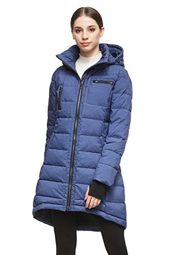 Orolay Women's Down Jacket Coat Winter Mid-Length Blue S