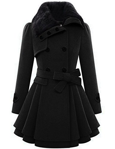 Zeagoo Women's Fashion Faux Fur Lapel Double-breasted Thick Wool Trench Coat Jacket, Black ,Large