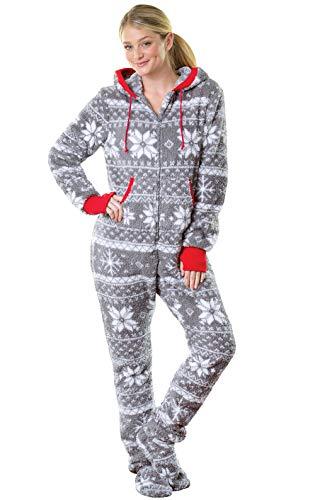PajamaGram One Piece Pajamas for Women - Fleece Womens Onesie