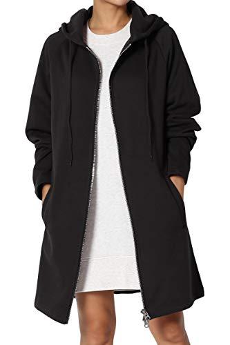 TheMogan Women's Hoodie Oversized Zip Up Long Fleece Sweat Jacket