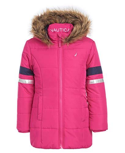 Nautica Little Girls Heavy Weight Long Length Jacket with Faux Fur Hood