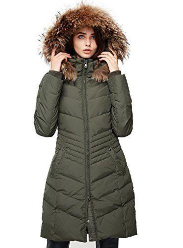 Escalier Women's Down Jacket Winter Long Parka Coat with Raccoon Fur Hooded Army Green L