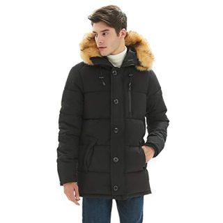 PUREMSX Mens Winter Jacket, Men's Classic Hooded Puffer Anorak Jacket