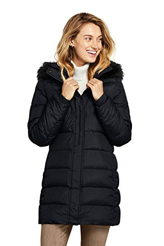 Lands' End Women's Winter Long Down Coat with Faux Fur Hood Medium Black