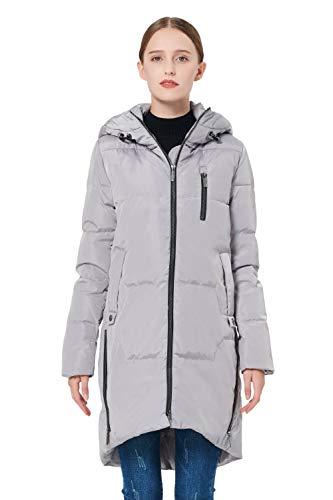 Orolay Women's Stylish Down Coat Winter Jacket with Hood Grey XXL