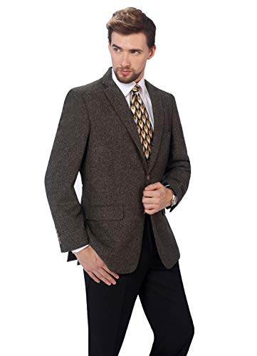 P&L Men's Premium Wool Blend Business Blazer Dress Suit Jacket Brown