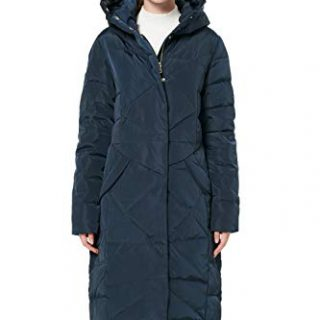 Orolay Women's Puffer Down Coat Winter Maxi Jacket with Hood Navy XL