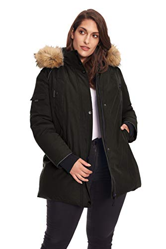 Alpine North Size Womens Vegan Down Parka Winter Jacket Plus, Black, 3X