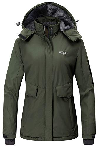 Wantdo Women's Winter Ski Jacket Hooded Mountain Snowboarding Coat Army Green S