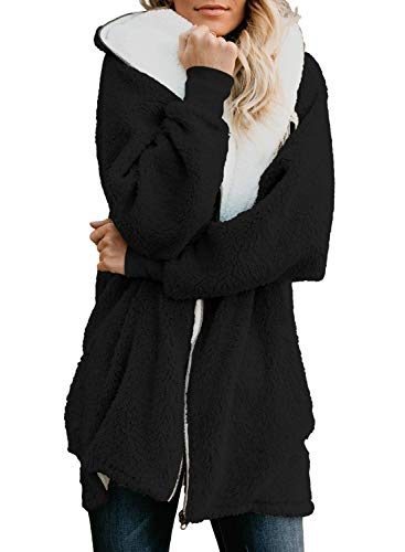 ReachMe Women's Oversized Full Zip Up Sherpa Hoodie Fleece Jacket