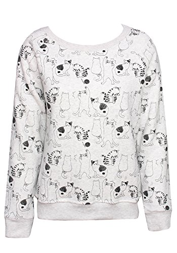 Sidecca All Over Printed Graphic Long Sleeve Pullover Sweater Sweatshirt