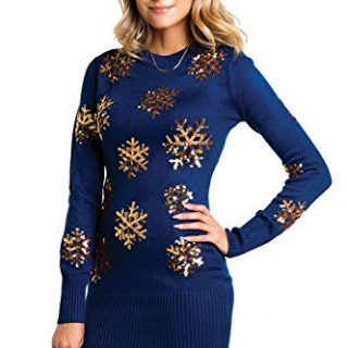 Women's Sequined Snowflake Christmas Sweater Dress