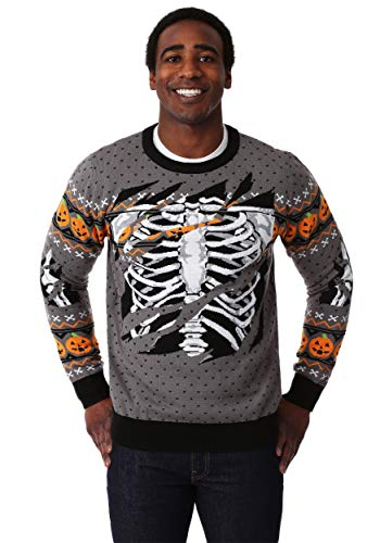 FUN Wear Adult Ripped Open Skeleton Halloween Sweater
